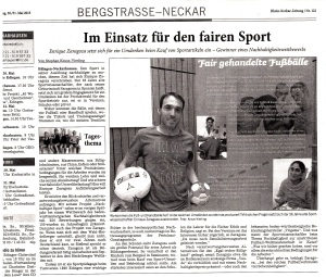 Artikel in der Rhein Neckar Zeitung Nr. 122 , 30./31. Mai 2015