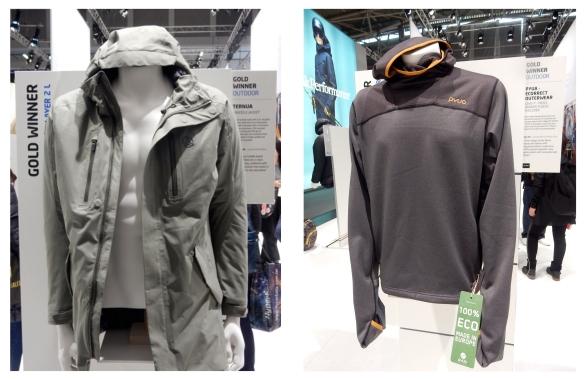ISPO Munich 2017 Craddle Jacket von Ternua und der Kapuzenpulli Dive-Y von PYUA 100% aus recyceltem Polyester und PFC-frei Nachhaltiger Sport